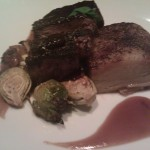 Steak Au Poivre w/bacon honey brussel sprouts