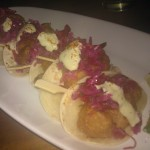 Beer-battered Maine lobster tacos w/red cabbage slaw, jalapeno mayo