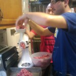 Paul & Chris grinding meat